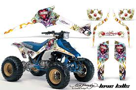 Suzuki Lt 250 250 R Atv Graphics Ed Hardy Love Kills White Quad Graphic Decal Wrap Kit Atv Graphic Kits Graphic Kits