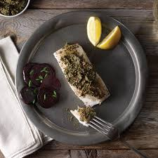 Roasted Halibut with Beet Green Pesto ...