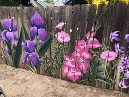 Paint Large Flowers On Your She Shed Fence Garden Fence Art Garden Mural Fence Art