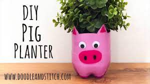 pig plant pot from a plastic bottle