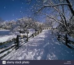 Snow Covered Road In Black Creek Pioneer Village Toronto Ontario Stock Photo Alamy