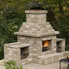outdoor fireplace with cinder blocks