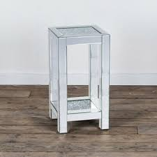 side end tables silver mirrored glass