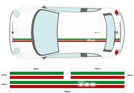 Fiat 500 Italian Flag Roof Stripe Style Decal Sticker For Sale Online Ebay