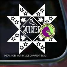 Quilter Vinyl Decal Sticker Quilting Pattern Fabric Needle Quilt Car Window Wall Ebay