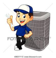 technician leaning on air conditioner