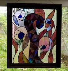 panel framed stained glass wall hanging