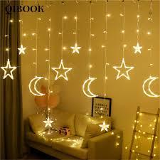 Đèn LED hình mặt trăng ngôi sao dùng trang trí cửa sổ bằng thép không gỉ