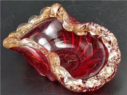 murano glass bullicante ruby red bowl