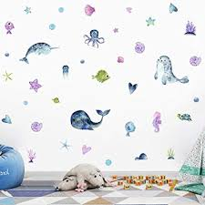 Amazon Com Iarttop Watercolor Ocean Theme Wall Art Decal Under Sea Life Animals Narwhal Dolphin Octopus Fish Wall Sticker For Kids Room Nursery Decoration Arts Crafts Sewing