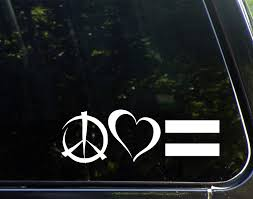 Amazon Com Diamond Graphics Peace Love Equality 8 3 4 X 3 Die Cut Decal For Windows Cars Trucks Etc Automotive