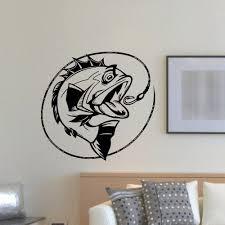 Bass Fishing Vinyl Wall Art Decal Sticker Vinyl Wall Art Decals Fishing Decor Vinyl Wall Art
