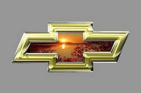 Chevy Bowtie Emblem Vinyl Sticker Gold Trim With Sunset Truck Car Window Ebay