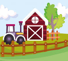 Premium Vector Farm Animals Barn Tractor Wooden Fence Tree Cartoon