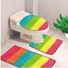 3 pc rainbow bathroom set bath mat rug