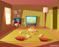 Vector Cartoon Illustration Of Empty Playroom For Children With Game Console Tv Screen And Joysticks Kids Room For Leisure And Fun Interior With Furniture Green Carpet Walls Floor Lamp Buy This