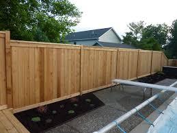Custom Cedar Wood Privacy Fence Around Pool Built On Top Of Retaining Wall Cedar Fence Garden Fencing Fence Around Pool