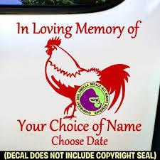 Rooster Memorial Add Your Custom Words Vinyl Decal Sticker Gorilla Decals