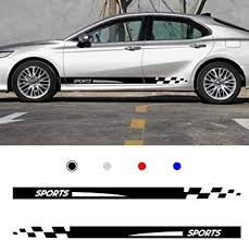 Amazon Com Autotoper Car Side Door Skirt Strip Sticker Decals For Toyota Camry Black Vinyl Car Decal Accessories Styling 1 Pair L R Automotive