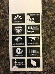 007 Q Branch Car Blank Button Sticker Funny Ejection Seat Speed Invisibility Gun Ebay