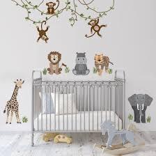 Safari Animals And Monkey Wall Decals Jungle Animal Wall Etsy In 2020 Safari Nursery Walls Nursery Wall Decals Jungle Wall Decals