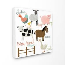 The Kids Room By Stupell 30 In X 30 In Cow Pig Sheep Horse Chicken And Duck Farm Animals With Hand Lettering By Katie Doucette Canvas Wall Art Brp 2318 Cn 30x30 The Home Depot
