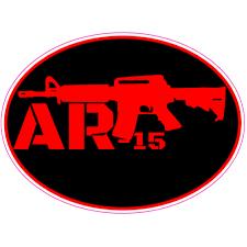 Ar 15 Black Red Oval Decal U S Custom Stickers