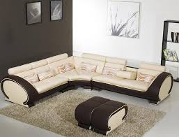 beige and brown leather sectional sofa