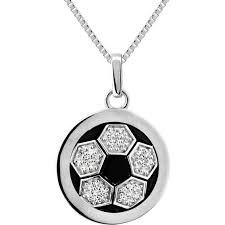 sterling silver 1 10 ctw diamond soccer