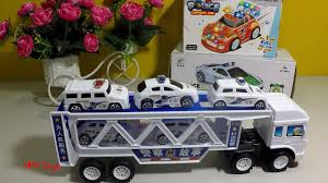 Xe tải đầu kéo chở 5 xe cảnh sát màu trắng Video đồ chơi xe ô tô cho bé MN  Toys - YouTube