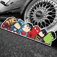 The Avengers Wry Neck Car Sticker Cartoon Reflective Car Styling Stick Gadget198