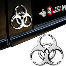 Amazon Com Yspring Resident Evil Strain 3d Metal Decals Multicolor Electroplated Zinc Alloy Umbrella Corporation Biohazard Symbol Tail Side Marker Car Stickers Silver 2 44 2 44 Automotive
