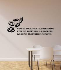 Vinyl Wall Decal Office Inspirational Quote Phrase Teamwork Gears Busi Wallstickers4you
