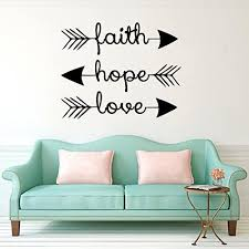 Amazon Com Cugbo Wall Decals Faith Hope Love Family Wall Quotes Bible Verses Arrow Art Mural Psalms Vinyl Stickers Bedroom Living Room Decor Home Kitchen