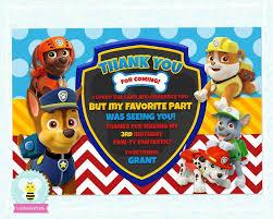 Paw Patrol Birthday Thank You Card Personalized Card Boys