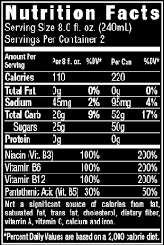 nutrition facts for orange flavored