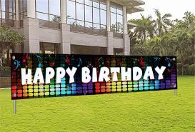 Amazon Com Giant Happy Birthday Banner Birthday Yard Sign With Hole Tik Tok Birthday Party Decorations For Girls Boys Musical Themed Party Outdoor Birthday Banner For Women Men Home Kitchen
