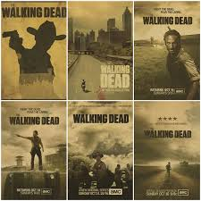Rick Grimes Posters Wall Sticker The Walking Dead Vintage Poster Retro Tv Series Home Decor Bar Wall Decal Wish