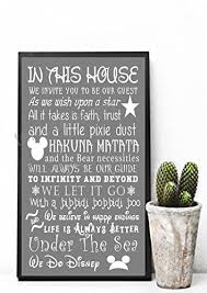 new in this house we do disney quote wall sign print poster wall