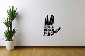 Amazon Com Movie Film Wall Decals Star Trek Spock Hand Vulcan Salute Live Long And Prosper Stickers Vinyl Murals Decors Mm1940 Home Kitchen