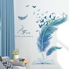 Shijuekongjian Cartoon Feathers Wall Stickers Diy Birds Wall Decals For House Living Room Kids Bedroom Wardrobe Decoration Decorative Wall Transfers Design Wall Decals From Babykai 13 65 Dhgate Com