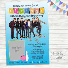 Bts K Pop Confetti Party Birthday Photo Invitation Personalized