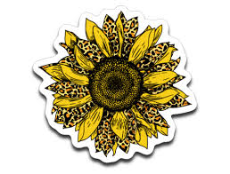 Leopard Print Sunflower Vinyl Decal Sticker Ten Squared