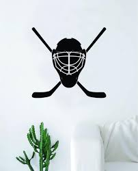 Hockey Goalie Mask Sticks Wall Decal Sticker Vinyl Art Bedroom Room Ho Boop Decals