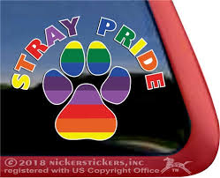 Stray Pride Rainbow Paw Print Rescue Dog Decals Stickers Nickerstickers