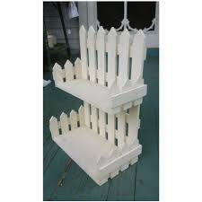 Folk Art White Picket Fence Wall Shelf Picket Fence Decor White Picket Fence Picket Fence