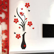 3d Flower Vase Mirror Wall Sticker Decal Art Home Room Office Decor Removable Lg