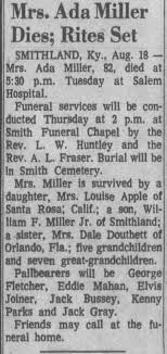 Obituary for Ada Miller (Aged 82) - Newspapers.com