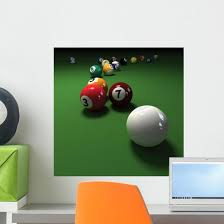 Billiards Game With Cubic Wall Decal Wallmonkeys Com