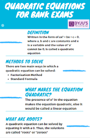 to solve quadratic equations in bank exams